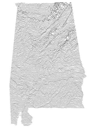 Topographic Relief Peaks and Valleys Map of US Federal State of Alabama