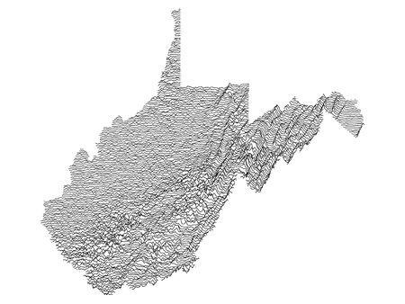 Topographic Relief Peaks and Valleys Map of US Federal State of  West Virginia