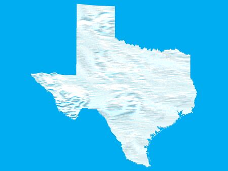 Blue Smooth Topographic Relief Peaks and Valleys Map of US Federal State of Texas