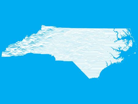 Blue Smooth Topographic Relief Peaks and Valleys Map of US Federal State of North Carolina Illustration
