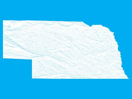 Blue Smooth Topographic Relief Peaks and Valleys Map of US Federal State of Nebraska