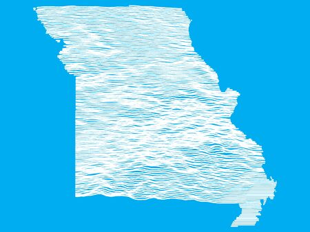 Blue Smooth Topographic Relief Peaks and Valleys Map of US Federal State of Missouri