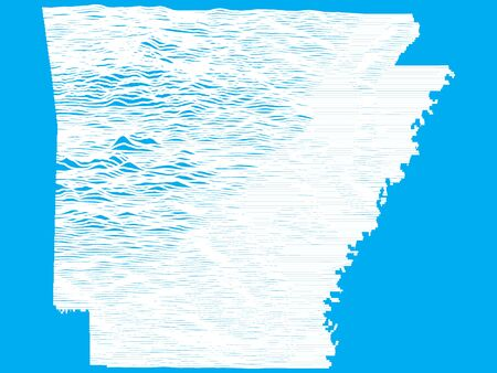 Blue Smooth Topographic Relief Peaks and Valleys Map of US Federal State of Arkansas