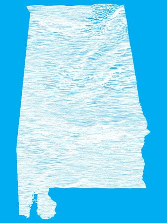 Blue Smooth Topographic Relief Peaks and Valleys Map of US Federal State of Alabama