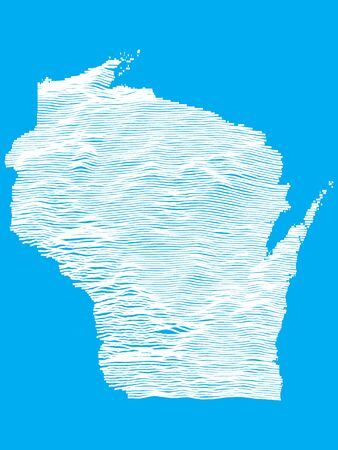 Blue Smooth Topographic Relief Peaks and Valleys Map of US Federal State of Wisconsin