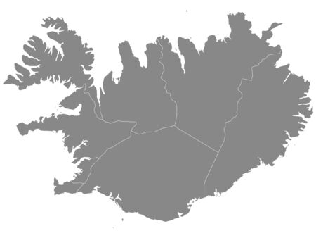 Gray Regions Map of European Country of Iceland