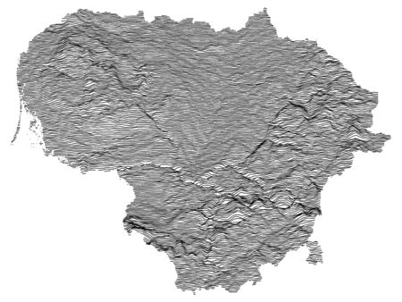 Gray Topographic Relief Map of European Country of Lithuania