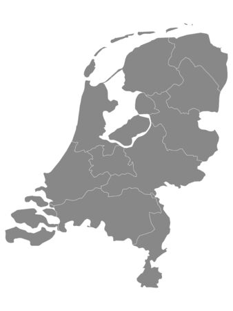 Gray Provinces Map of European Country of Netherlands