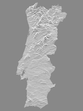 Gray on White Topographic Relief Map of European Country of Portugal 矢量图像