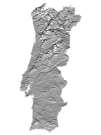 Gray Topographic Relief Map of European Country of Portugal
