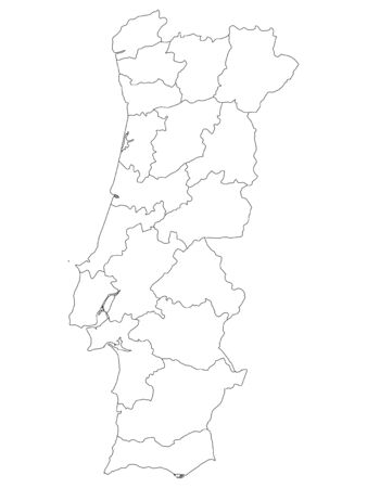 White Districts Map of European Country of Portugal 矢量图像