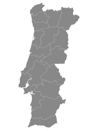 Gray Districts Map of European Country of Portugal