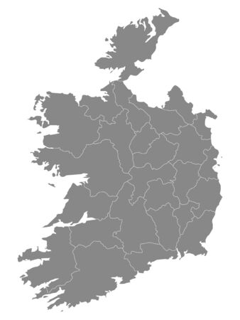 Gray Counties Map of European Country of Ireland