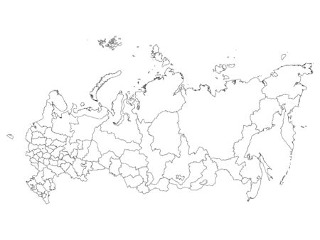 White Federal Units Map of the Russian Federation (republics, krais, oblasts, cities of federal importance)