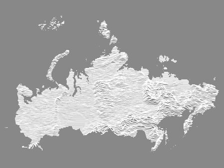 White on Gray Topographic Relief Map of the Russian Federation