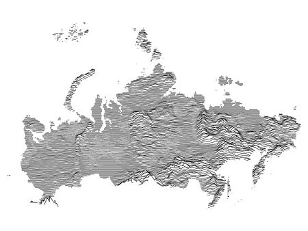 Gray Topographic Relief Map of the Russian Federation