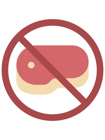 Clip-art Illustration of a Warning Sign Prohibiting Non-Cooked and Raw Meats