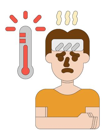 Clip-art Illustration of Man Suffering of High Temperature Fever as a Corona-virus Symptom
