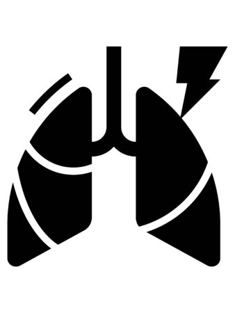 Black and White Clip-art Illustration of Chest Pain as a Corona-virus Symptom
