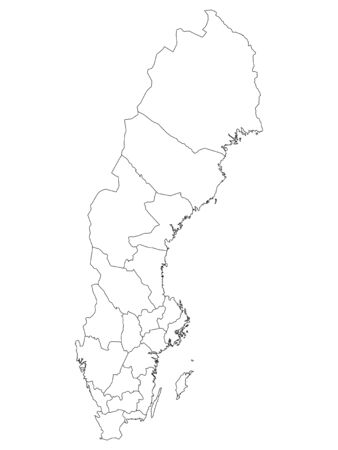White Map of Counties of Sweden