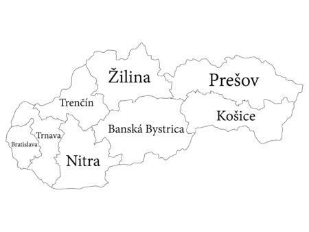 White Labeled Regions Map of European Country of Slovakia