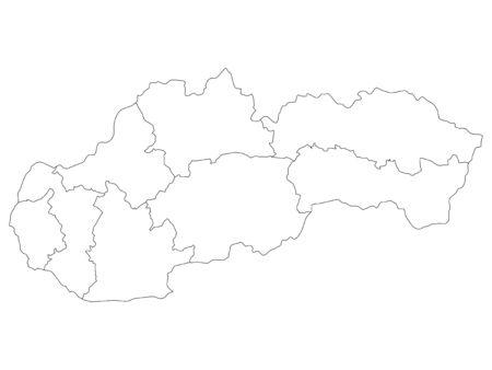 White Regions Map of European Country of Slovakia Векторная Иллюстрация