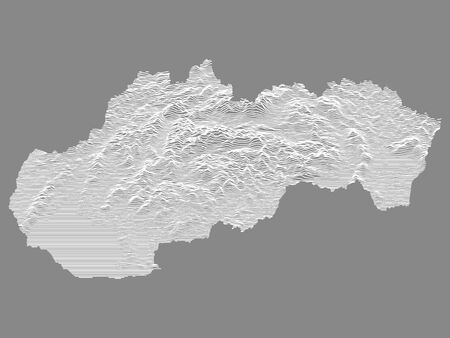 White on Gray Relief Map of European Country of Slovakia