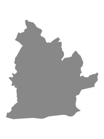 Flat Gray Map of the Slovakian Region (Kraj) of Nitra
