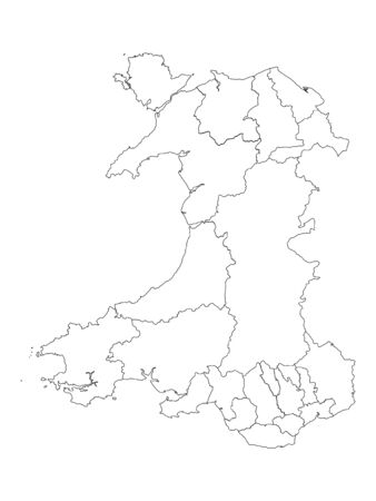 White Flat Map of Principal Areas of Wales