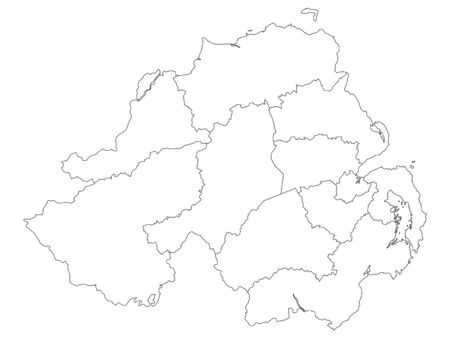 White Map of Districts of Northern Ireland, United Kingdom Vettoriali
