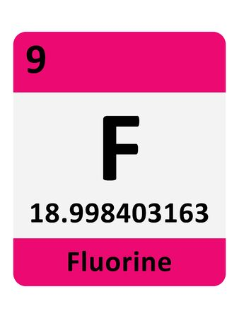 Name, Symbol, Atomic Mass and Atomic Number of the Period Table Element of Fluorine Ilustrace