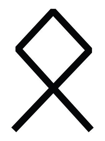 """Black Simple Anglo-Saxon Futhorc Runes Letter of Å""""thel (Å"""")"""