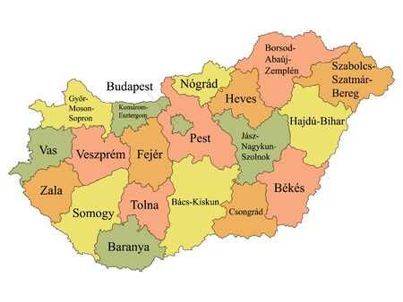 Color Labeled Counties Map of European Country of Hungary