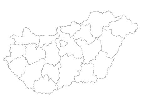 White Counties Map of European Country of Hungary 向量圖像