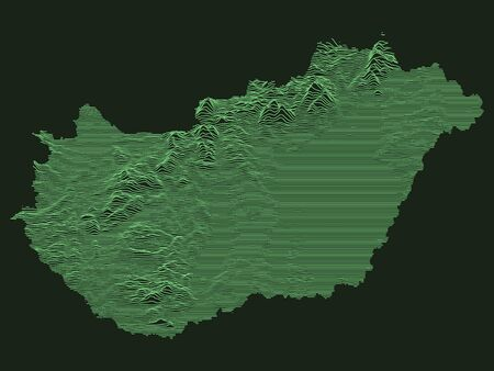 Tactical Military Emerald 3D Topography Map of European Country of Hungary