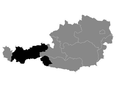Black Location Map of Austrian State of Tyrol within Grey Map of Austria