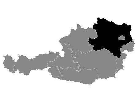 Black Location Map of Austrian State of Lower Austria within Grey Map of Austria