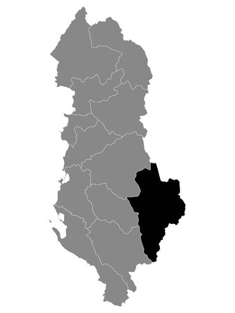 Black Location Map of Albanian County of Korce within Grey Map of Albania