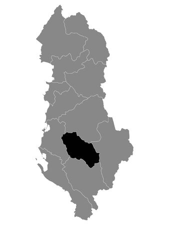 Black Location Map of Albanian County of Berat within Grey Map of Albania