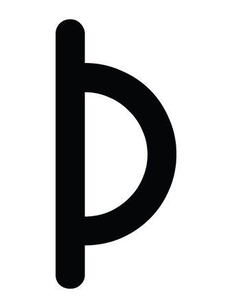 Black Simple Younger Futhark Runes Letter of Thurisaz Vektorgrafik
