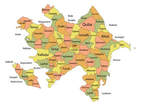 Color Labeled Districts Map of European Country of Azerbaijan