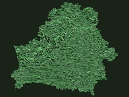 Tactical Military Emerald 3D Topography Map of European Country of Belarus
