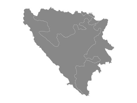 Gray Entities Map of European Country of Bosnia and Herzegovina Illustration