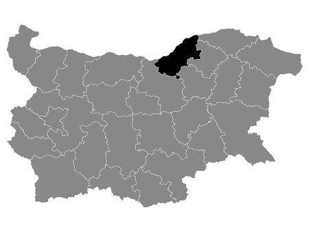 Black Location Map of Bulgarian Province of Ruse within Grey Map of Bulgaria