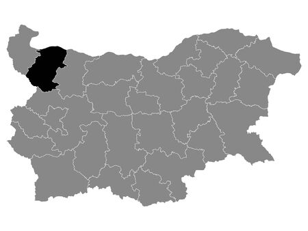 Black Location Map of Bulgarian Province of Montana within Grey Map of Bulgaria 向量圖像