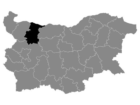 Black Location Map of Bulgarian Province of Vratsa within Grey Map of Bulgaria