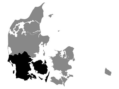 Black Location Map of Danish Region of Southern Denmark within Grey Map of Denmark