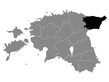 Black Location Map of Estonian Ida-Viru County within Grey Map of Estonia Ilustração