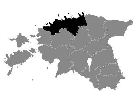 Black Location Map of Estonian Harju County within Grey Map of Estonia