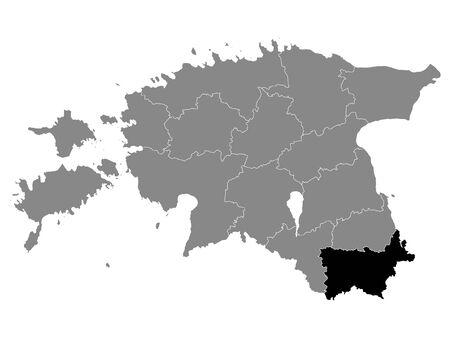 Black Location Map of Estonian Voru County within Grey Map of Estonia